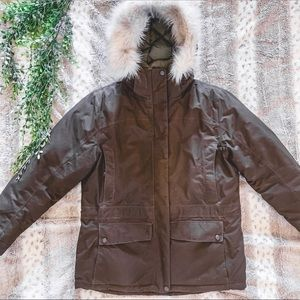 LL Bean Goose Down Winter Coat and Matching Gloves